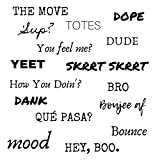 Slang Word Laptop Stickers - Waterproof Skateboard Stickers - Water Bottle Stickers - Large Funny Slang Dope Words (16 Sayings) You Feel Me? YEET!
