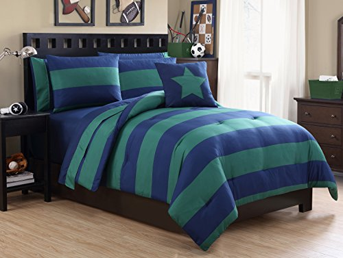 Full Size BED-IN-A-BAG Reversible in Navy / Green Color Blocked 8 Pc Set w/ Sheets