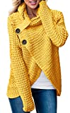 Huiyuzhi Womens Sweaters Cowl Neck Chunky Cable Knit Hooded Wrap Cardigan Pullover Sweater Coats with Button (S-XXL) (M, Yellow)
