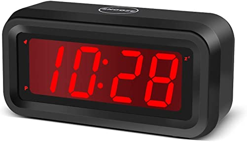 EUTUKEY Digital Alarm Clock Battery Operated Only, 4pcs AA Batteries Keep Cordless Clock Running More Than 1 Year, 4 Red LED Jumbo Display, for Bedroom, Kids, Travel, Bedside, Shelf