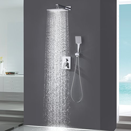 KOJOX Bathroom Luxury Shower System with High Pressure 10 Inch Rainfall Shower Head, Handheld Shower head and Shower Faucet valve, Rain Mixer Shower Combo Set Wall Mounted Polished Chrome