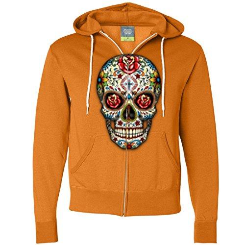 (Dia De Los Muertos Sugar Skull Zip-Up Hoodie - Tangerine)