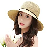 Siggi Floppy Summer Sun Beach Straw Hats for Women SPF Crushable Bucket Cloche Hat 56-59cm Beige
