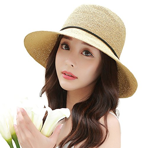 [Siggi Floppy Summer Sun Beach Straw Hats for Women SPF Crushable Bucket Cloche Hat 56-59cm Beige] (Straw Safari Hat)
