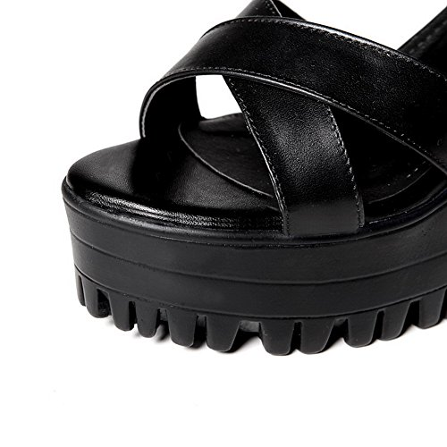 AalarDom Mujeres Puntera Abierta Tacón ancho Material Suave Hebilla Sólido Sandalia Negro