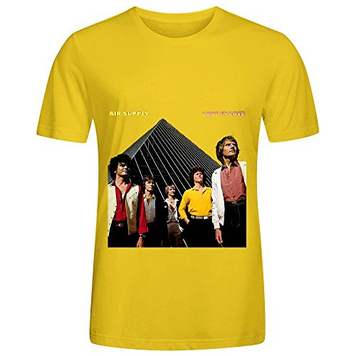 Air Supply Lost In Love Soundtrack Men O Neck Cotton Shirt Yellow