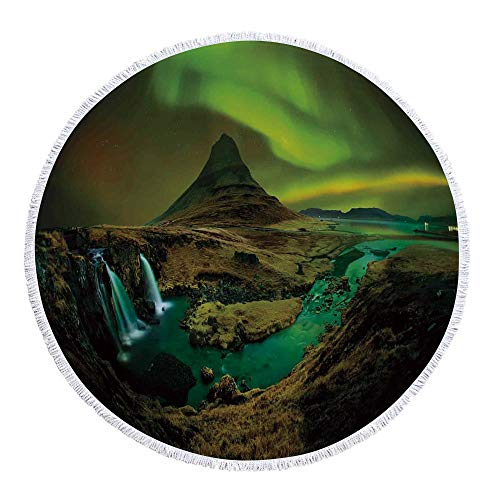 """YOLIYANA Northern Lights Avirulent and Tasteless Round Beach Towel,Pale Weather Over The Hills with Waterfall Creek Nature Landscape for Poolside Lounging or Wall Hanging,59.1"""" L x 59.1"""" W"""