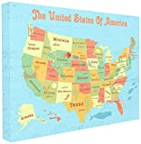 Stupell Industries United States of America USA Kids Map Oversized Stretched Canvas Wall Art, Proudly Made in USA