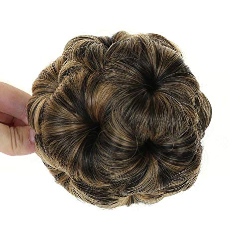 Synthetic Curly Chignon Bun Hairpiece 9 Flowers Clip In Hair Extension Fake Hair High Temperature ()