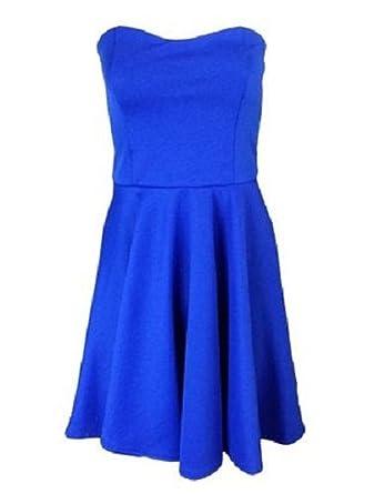 FASHION FOR HOME Home of Fashion Sleeveless Bandeau Skater Prom Dress (12, Royal Blue
