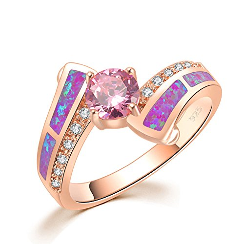 Pink Zircon Ring - CiNily Created Pink Fire Opal Pink Topaz Zircon Rose Gold Filled for Women Jewelry Gemstone Ring Size 5-13 (6)