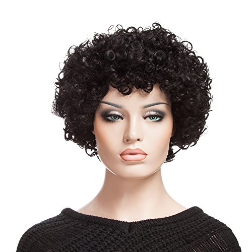 [YOPO Afro Short Curly Wig for Women with Cap and Bobby Pins, Black] (Short Curly Wig)