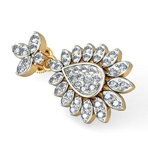 Or jaune 18K 1,05CT TW White-diamond (IJ | SI) Pendants d'oreilles
