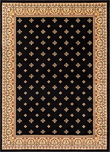 (Noble Palace Black French European Formal Traditional Area Rug 3x5 4x6 ( 3'11