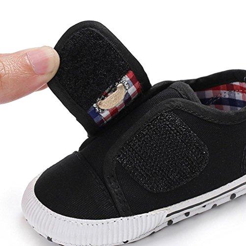Sunnyoyo 0-2 Jahre alt Neugeborenen Baby Mädchen Jungen Kinderbett Leinwand Schuhe Weiche Sohle Anti-Slip Sneakers Schwarz