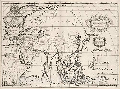 Map | A new map of present Asia. Present Asia distinguisht into its general divisions or countries together with their capital cities 1700 Atlas | Vintage Poster Art | 44in x 33in (Country In Asia And Their Capital City)