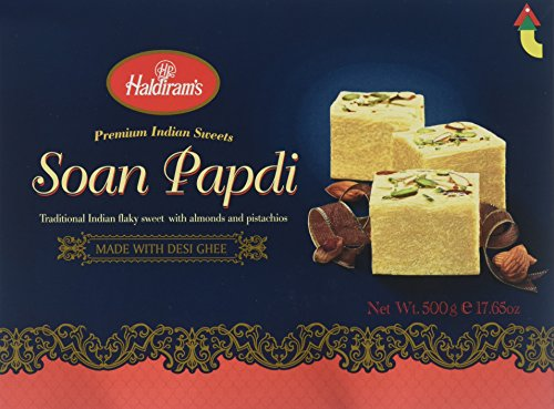 Special Raksha Bandhan Gift Pack - 1) Designer Rakhi, and 2) Haldiram Soan Papdi (Traditional Indian Flaky Sweet with Almonds and Pistachios) - 500g. by Haldiram