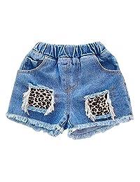XINXINHAIHE Kids Children Pants Shorts Girls Denim Elastic Fringe Leopard Pocket Summer Refreshing Half Pants With Elastic Waist Fashion Wild Casual Girls Denim Shorts (Color : Blue, Size : 100)