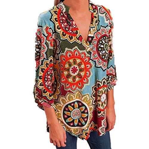 Maternity Poplin Blouse (Wintialy T-Shirt Top Fashion 2018 Women's Fashion V-Neck Blouse Casual Retro Print Loose Shirt Standing Collar Tops T-Shirt Tops)