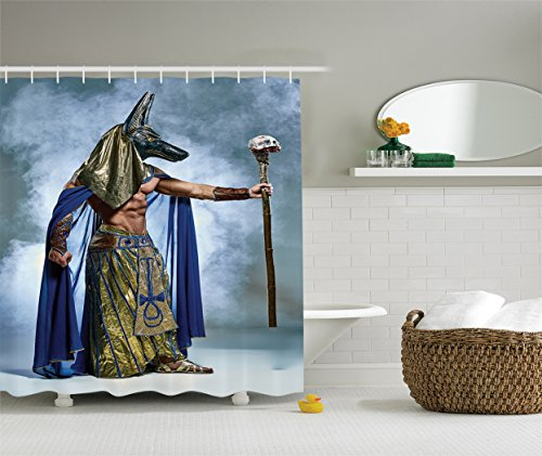 Ambesonne Egyptian Decor Collection, Ancient Egyptian Pharaoh with a Mask of Anubis Foggy Background Print, Polyester Fabric Bathroom Shower Curtain, 75 Inches Long, Olive Green Blue
