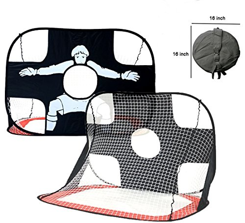 Soccer Goal for Kids , 2 in 1 Pop Up with Carry Bag Kids Sports Training Target, Portable Lightweight Nets Backyard Practice for Soccer, Football, Baseball, Lacrosse, Hockey
