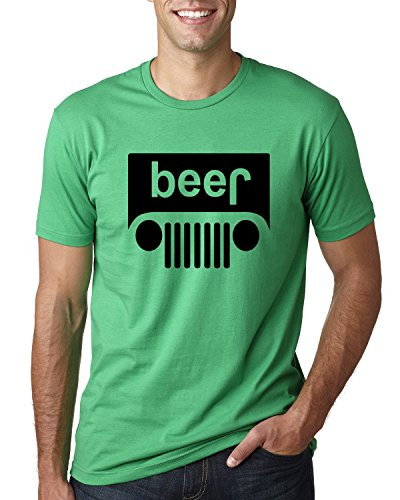 (Beer Logo |Black Design | Jeep Parody Humor Alcohol | Mens Drinking Tee Graphic T-Shirt, Kelly, X-Large)