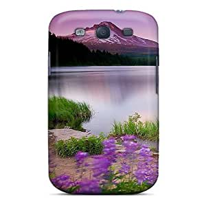 Galaxy S3 Case Slim [ultra Fit] Mountain Lake And Flowers Protective Case Cover