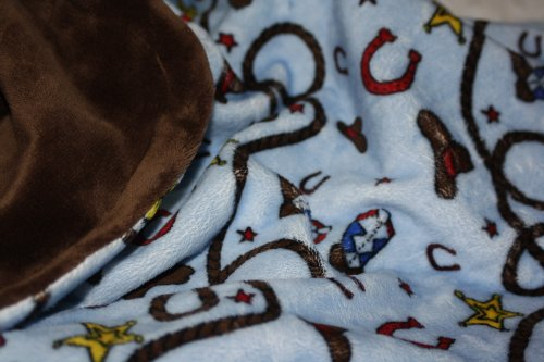 - Lil' Cub Hub Western Rodeo Cowboy Cowgirl Print Minky with Smooth Minky, Baby Blanket, Medium, 29