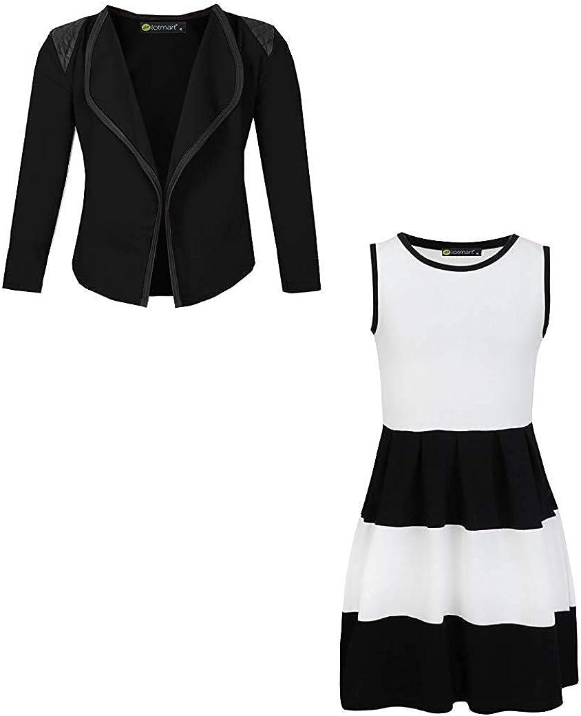 LOTMART Girls Sleeveless Skater Dress Bundle with Girls Blazer Jacket