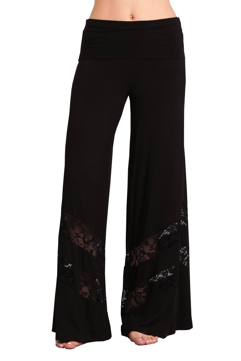 HEYHUN Plus Size Womens Solid Wide Leg Bottom Boho Hippie Lounge Palazzo Pants with Lace - Black - 3XL