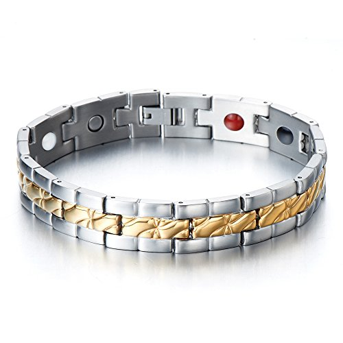 - Stainless Steel Men's Jewelry with four therapy elements Magnetic Germanium, Negative ion and Far Infrared Link Bracelet Gold Silver color with Free Link Removal Tool