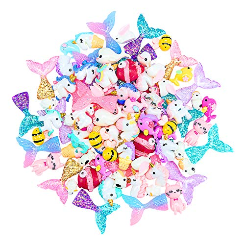ANPHSIN 90 Pcs Super Cute Slime Charms Mini Flatback Decor- Slime Supply Kits Accessory Unicorns Mermaid Tail for Slime Making -