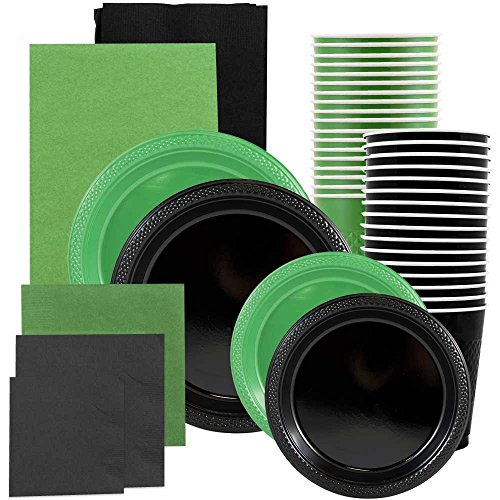 JAM Paper Party Supply Assortment - Green & Black Grad Pack - Plates (2 Sizes), Napkins (2 Sizes) , Cups & Tablecloths - 12/pack