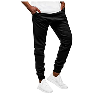 AMUSTER Pantaloncini Pantaloni Uomo Cotone Palestra Jeans