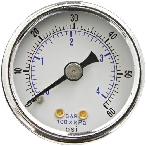 PIC Gauge 102D-158D Dry Filled Utility Center Back Mount Pressure Gauge with Black Steel Case, Chrome Bezel, Plastic Lens, 1-1/2