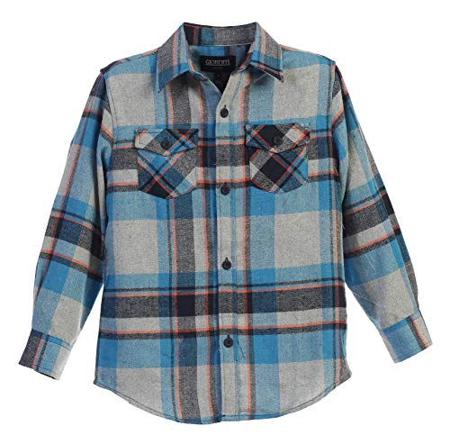 Gioberti Boys Long Sleeve Plaid Flannel, Teal/Gray / Coral Line, Size 10