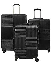 مجموعة حقائب السفر الصلبة من ريتش اند فايموس، حقيبة بعجلات، موديل RF-008، مجموعة حقائب بقياس 20 و24 و28 انش - مزودة بقفل تي اس ايه بأرقام للمسافرين إلى الولايات المتحدة الأمريكية - لون أسود