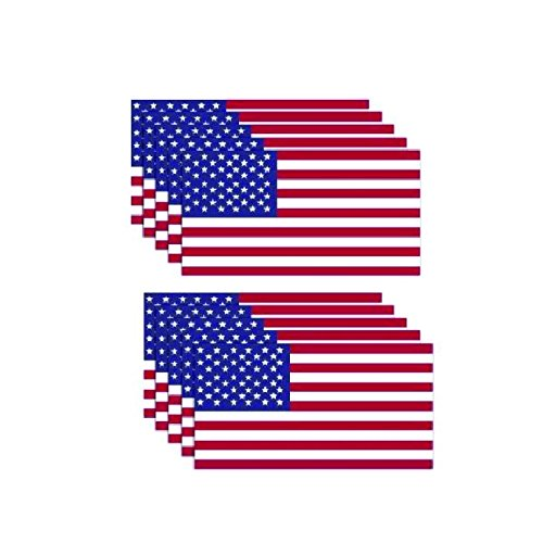 (10 Pack of New USA American Flag Vinyl Decal Army Navy Military Country Stickers Car Truck 3