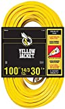 Yellow Jacket 2888 14/3 Heavy-Duty 13-Amp SJTW Contractor Extension Cord with Lighted Ends, 100-Feet