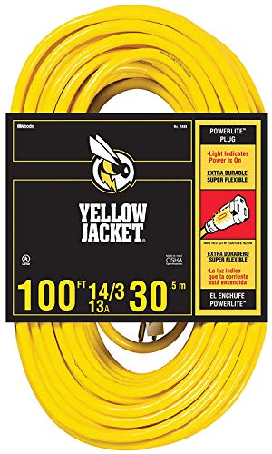 Yellow Jacket 14/3 Sjtw 100' Extension Cord With Lighted Receptacle, Yellow ()