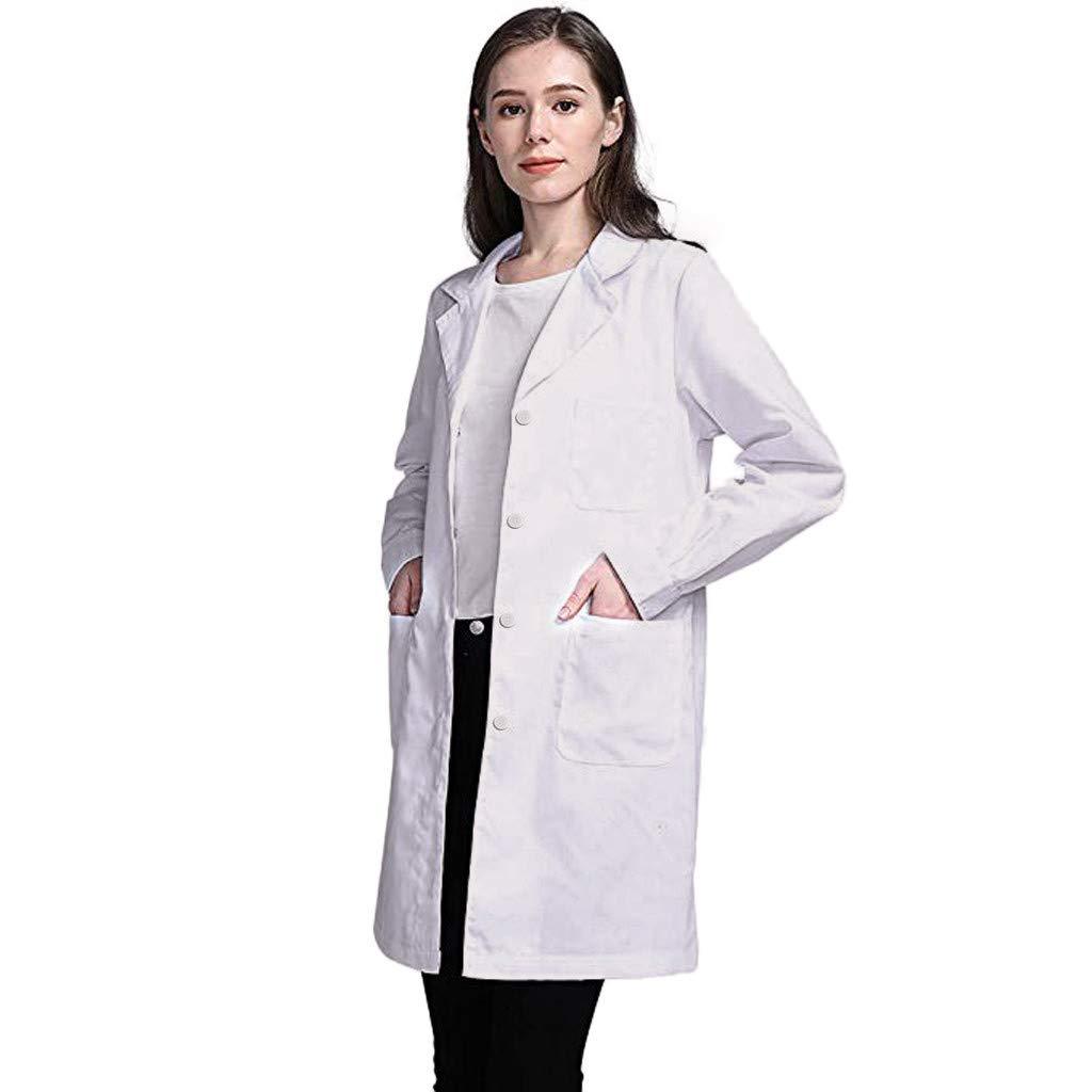 Camice Bianco per Le Signore Camice per Le Donne Adatto per Studente Laboratorio Infermiera Cosplay Abito di Cotone KUSUOU Camice Bianco da Laboratorio Donna Medico Cappotto