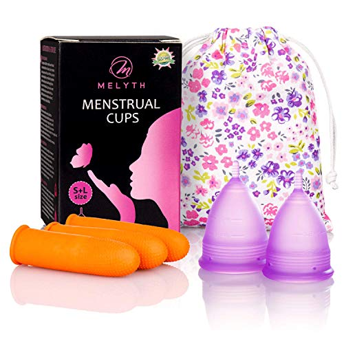 Melyth - 2 Pack of Reusable Menstrual Cups with Latex Finger Protection Sleeves and Carry Bag - Sanitary Cup Alternative to Tampons and Sanitary Towels - Easy to Use, Soft Period Cups in 2 Sizes