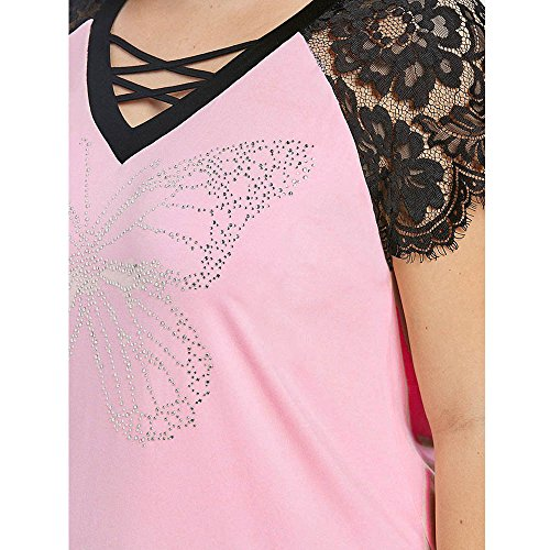Plus Size Tops for Women BXzhiri Wear Beads Lace V-Neck Cross Short Sleeve Casual Crop Tops Hot Pink by Bxzhiri_Women Tops (Image #5)