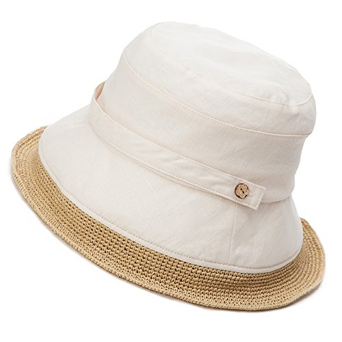 Siggi Womens Summer Bucket Boonie UPF 50+ Wide Brim Linen Sun Hat Rollable Beach Accessories Beige - Cotton Straw Cap