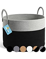 OrganiHaus XXL Cotton Rope Woven Basket | Blanket Storage Basket for Living Room and Laundry | Decorative Basket for Blankets | Rope Laundry Basket Woven | Extra Large Baskets 20x13 (Black/Grey)