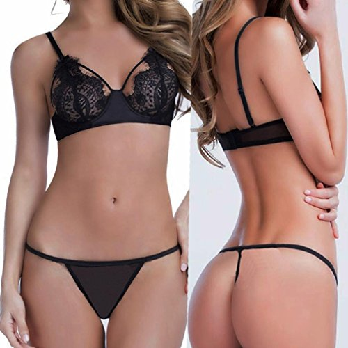 Ltrotted Women Lingerie 1 Set Sexy Lingerie Eyelash Lace ,Tie Features Sheer Mesh G-String Underwear (XXXL, Black)