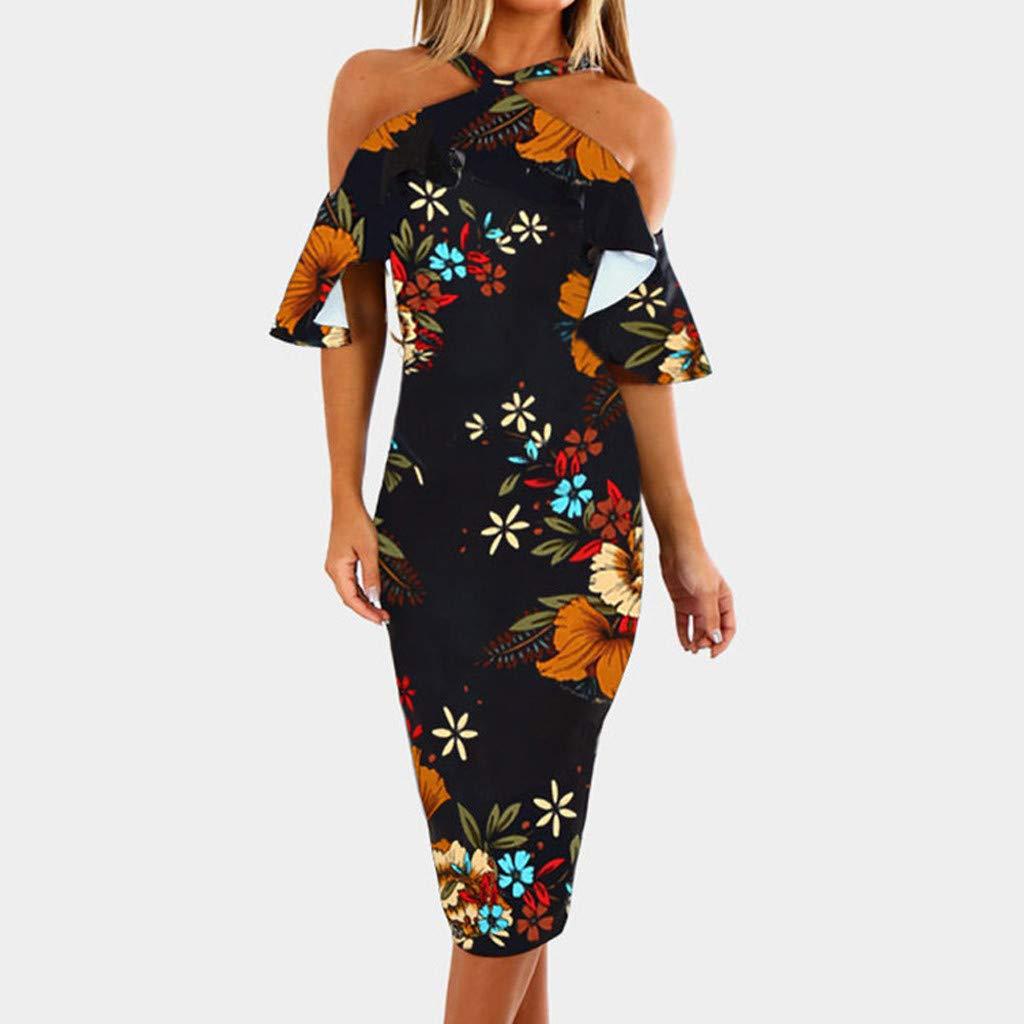 Women Casual Print Floral Sleeveless Backless Dress Princess Dress