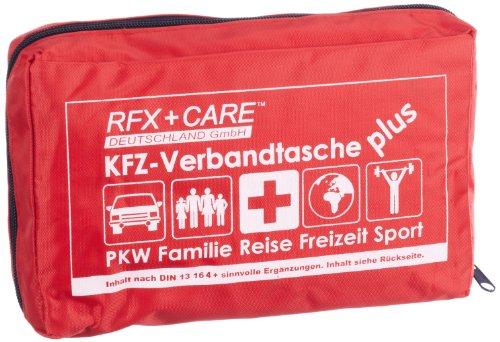 RFX + Care EH0032 KFZ-Verbandtasche rot, Inhalt nach DIN 13164 § 35h STVZO + Beatmungsmaske + Pflaster + EXTRAS