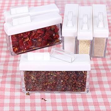 Lanlan Set von 6 Gewürzglas Aufbewahrung Würze Boxen Küche Gewürz ...