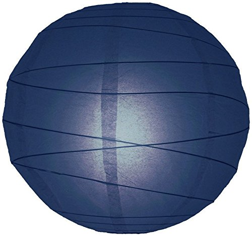 "Quasimoon 20"" Navy Blue Round Paper Lantern, Crisscross Ribbing, Hanging (Light Not Included) by PaperLanternStore"